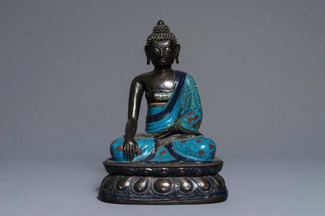 A Chinese cloisonnŽ enamel model of Buddha, 19th C.