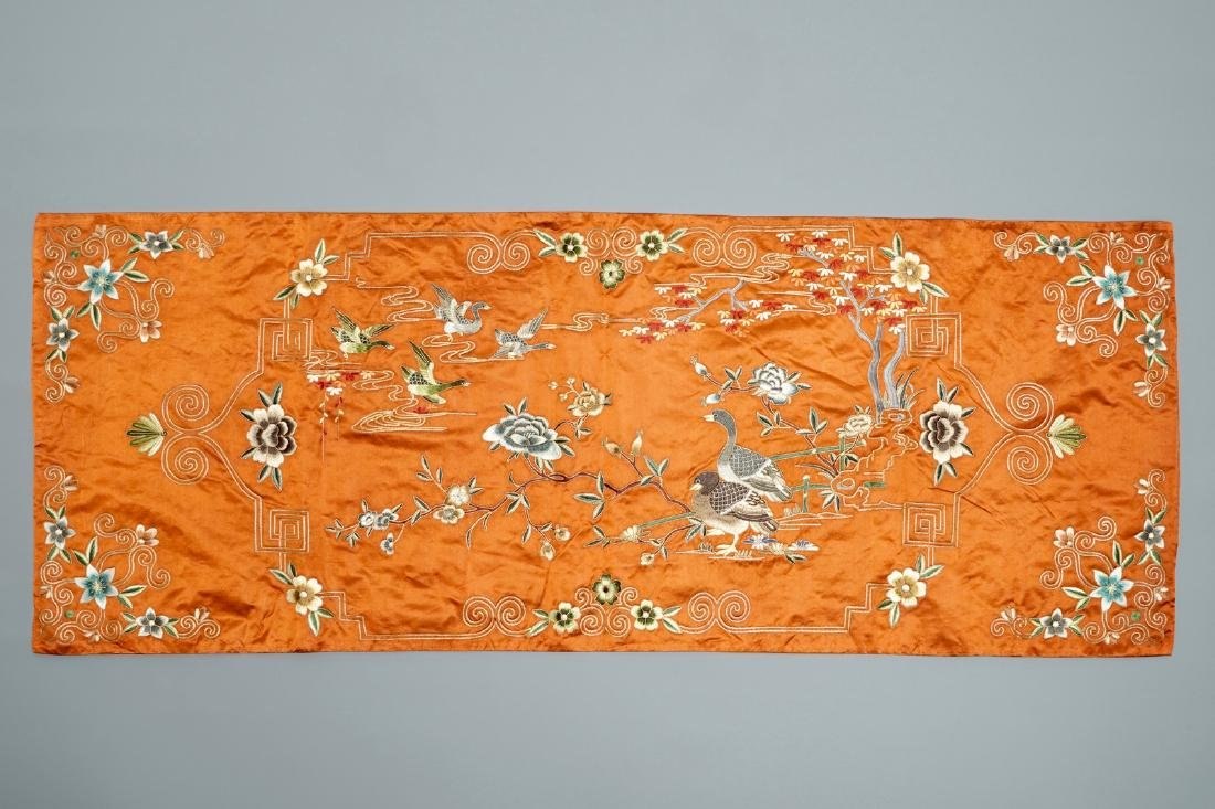 A Chinese silk embroidery with mandarin ducks and a