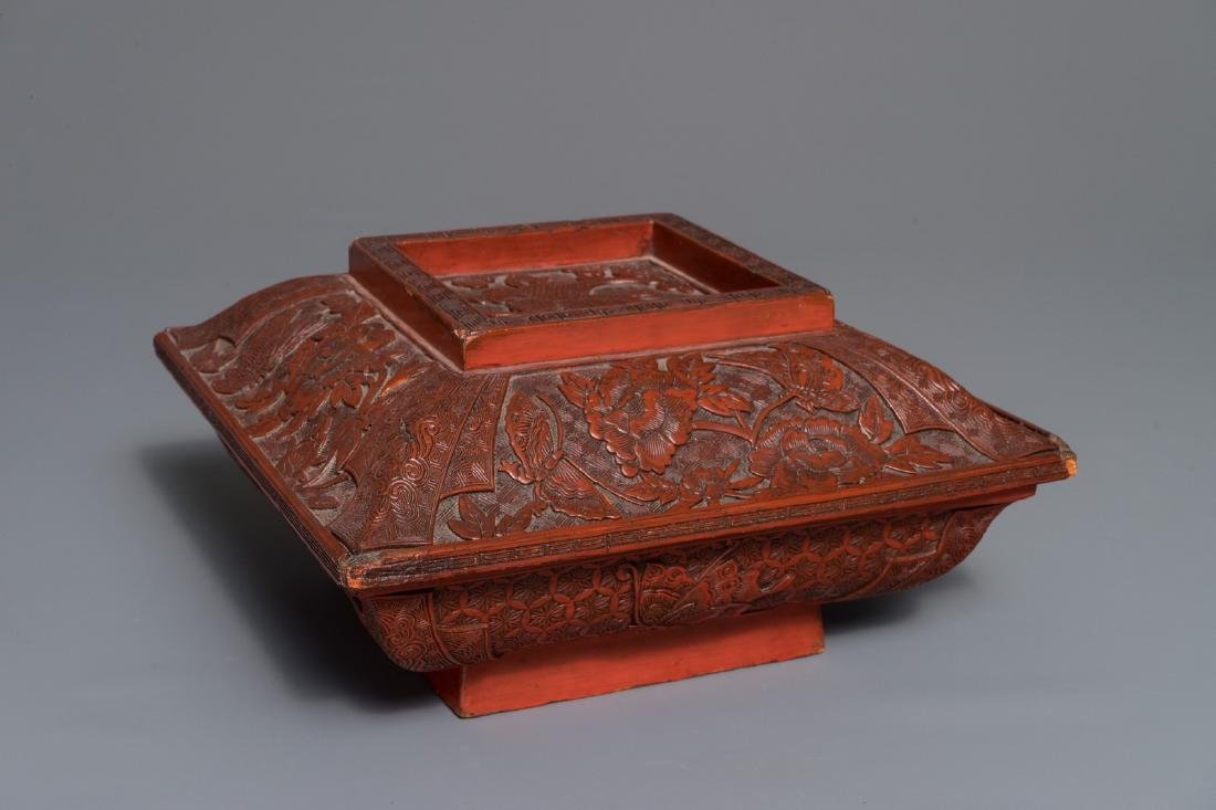A Chinese cinnabar lacquer square bowl and cover with a