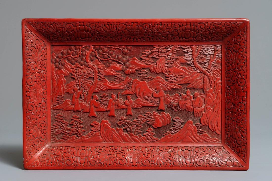 A rectangular Chinese cinnabar lacquer tray with