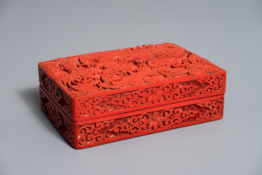 A rectangular Chinese cinnabar lacquer box and cover