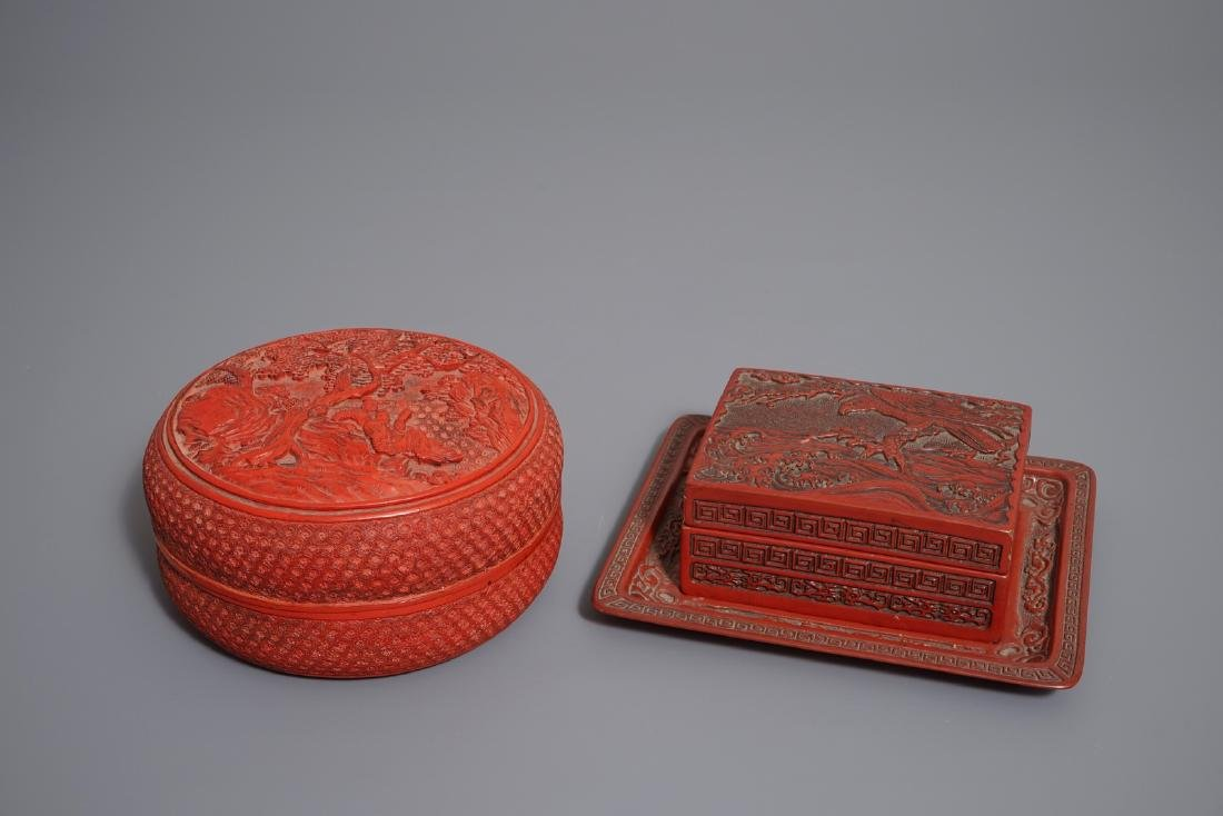 Two Chinese cinnabar lacquer boxes and covers, 19/20th