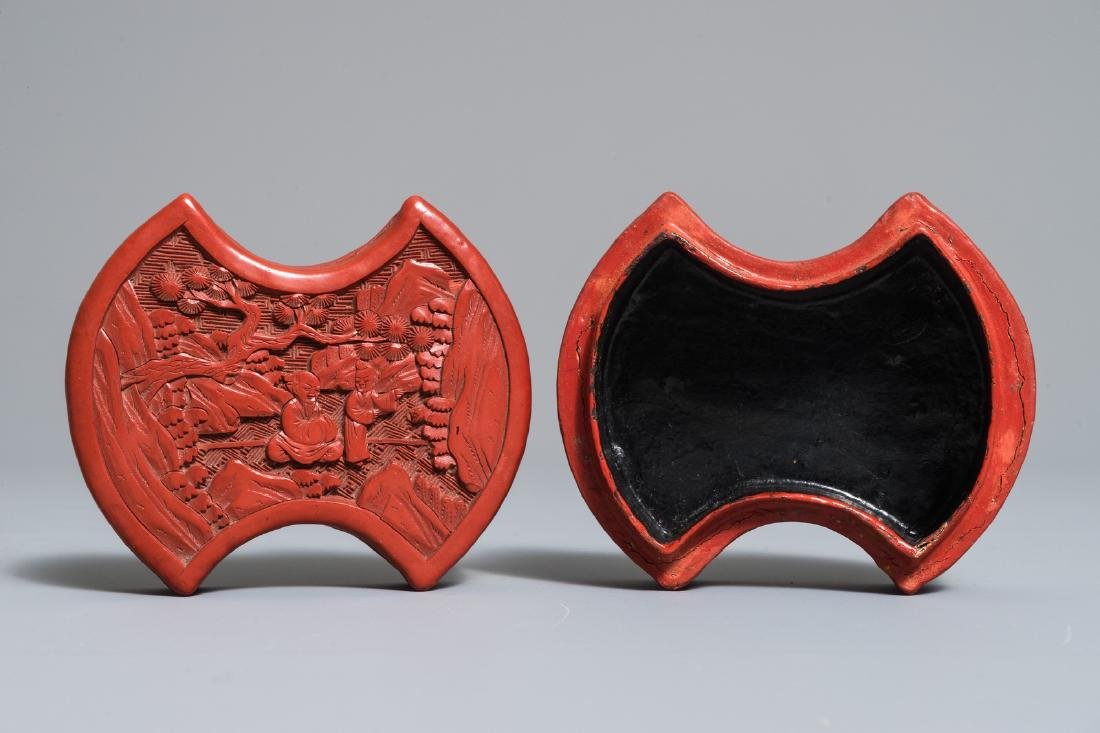 A Chinese cinnabar lacquer ingot-shaped box and cover,