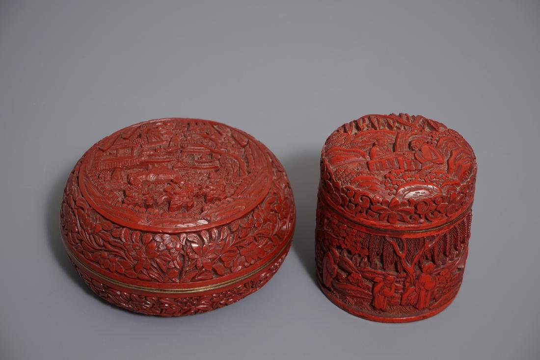 Two Chinese cinnabar lacquer covered boxes, one with