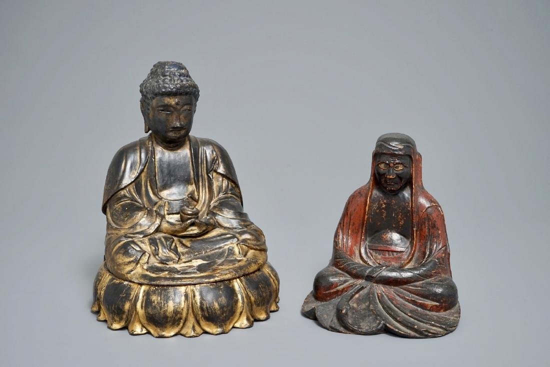 Two lacquered and gilt wood votive figures, Korea, 19th