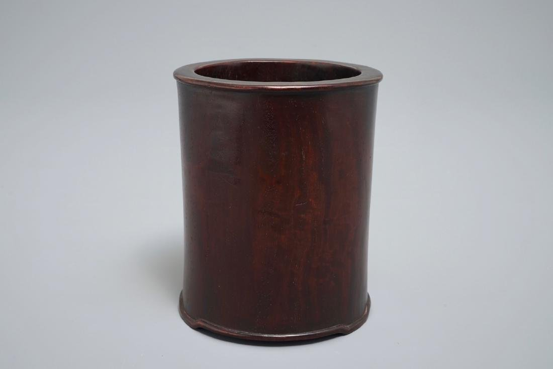 A Chinese zitan wood brush pot, 18th C.