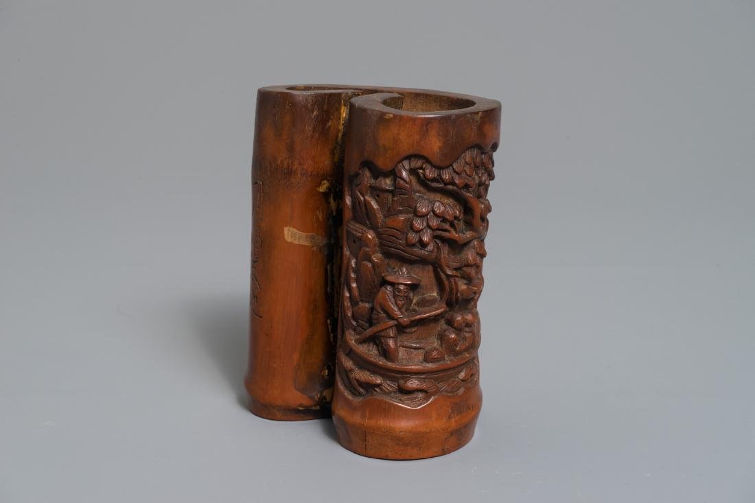 A Chinese carved and inscribed bamboo brushpot, 19th C.