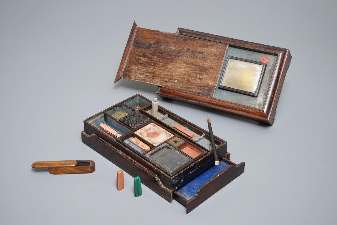 A Chinese calligraphy or artist's set in wooden box