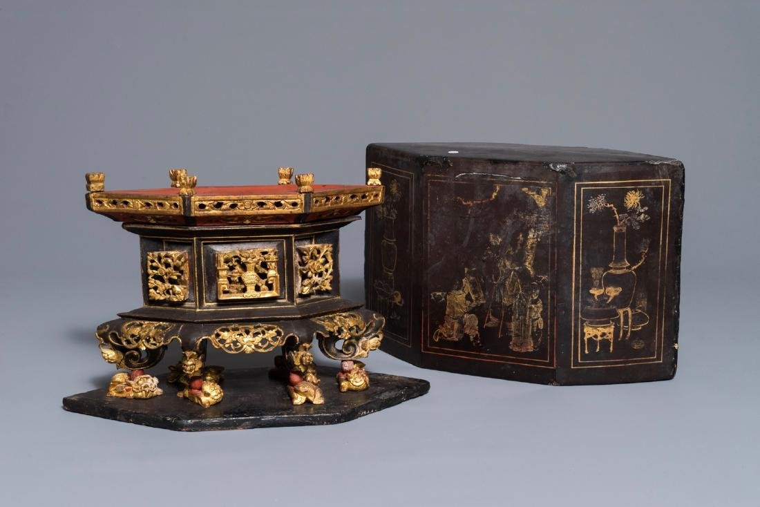 A Chinese gilt and lacquered wood offering box for the
