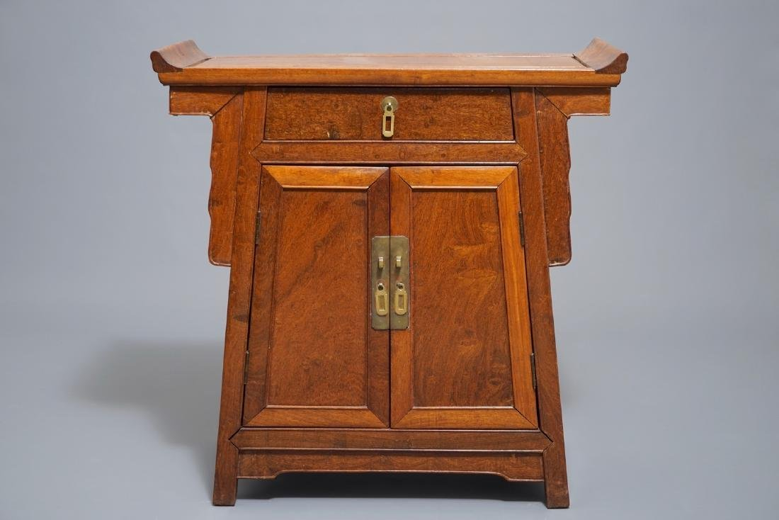 A Chinese Ming style hongmu altar cabinet, Qing