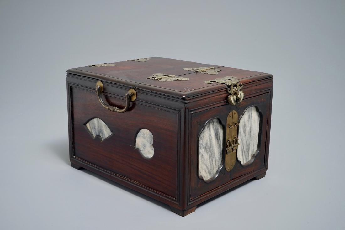 A Chinese rosewood jewelry box with marble panels,