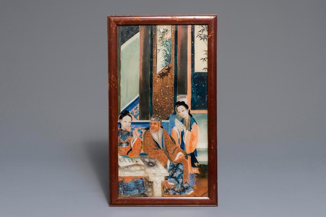 A Chinese reverse glass painting, 19th C.