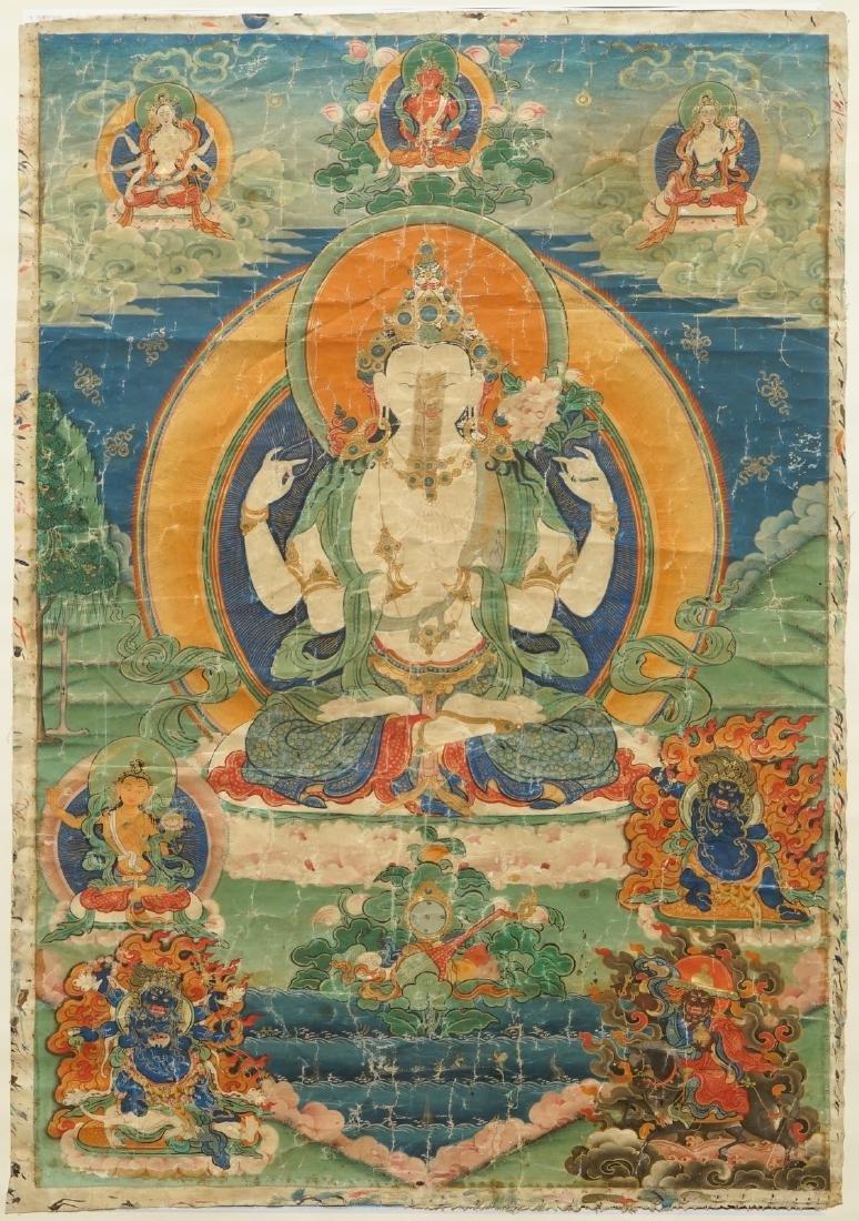 A thangka with the four-armed Avalokiteshvara, Tibet,