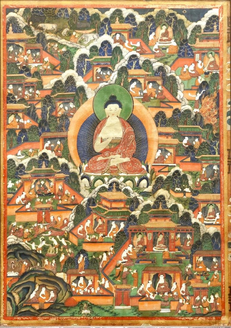 A thangka with scenes from the life of Buddha, Tibet or
