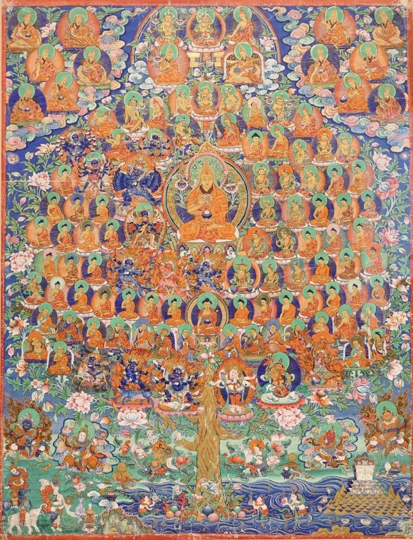 A refuge tree thangka, Tibet or Nepal, 19/20th C.