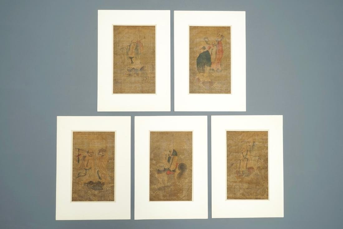 Five Chinese silk painting after Wu Daozi, 18/19th C.