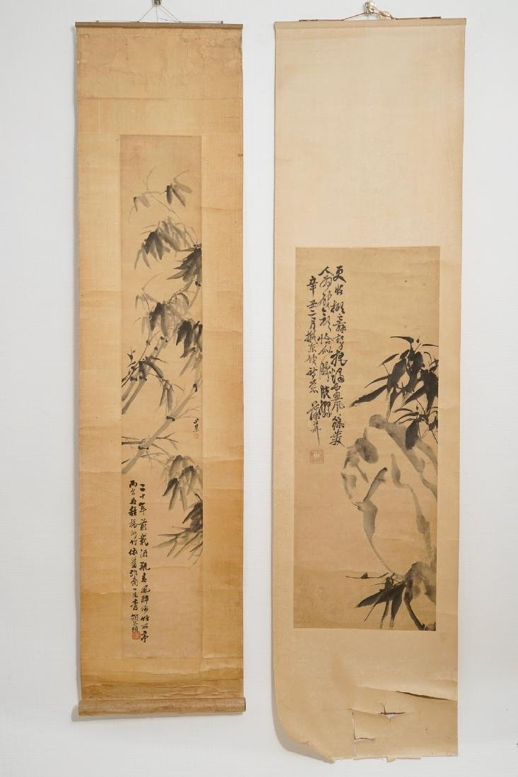 Two Chinese paper scroll paintings of bamboo branches,