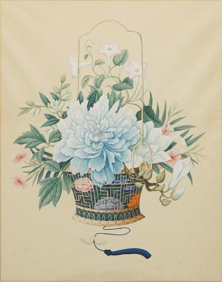 A Chinese watercolour of a flower basket, Canton, 2nd