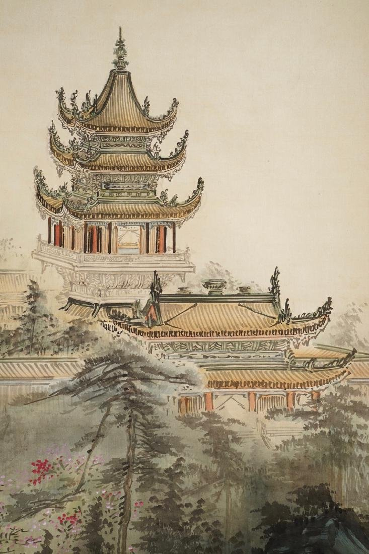 Four Chinese scroll paintings forming a large - 3