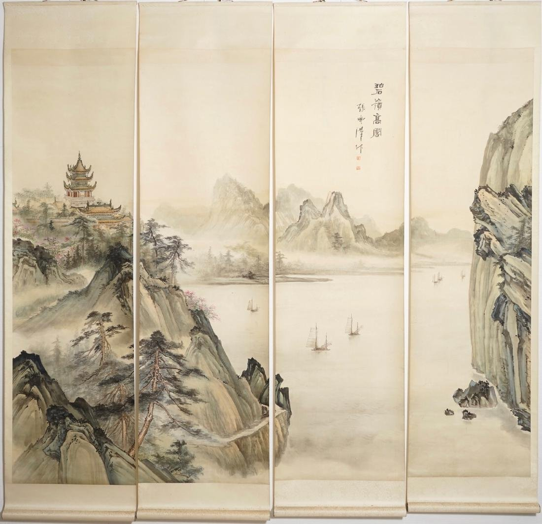 Four Chinese scroll paintings forming a large - 7