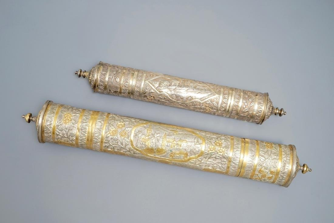 Two tubular parcel-gilt silver incense containers,