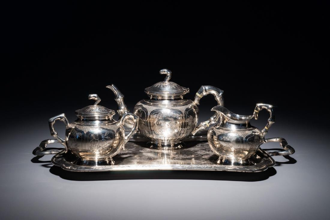 A Chinese silver-plated tea service on tray, Republic