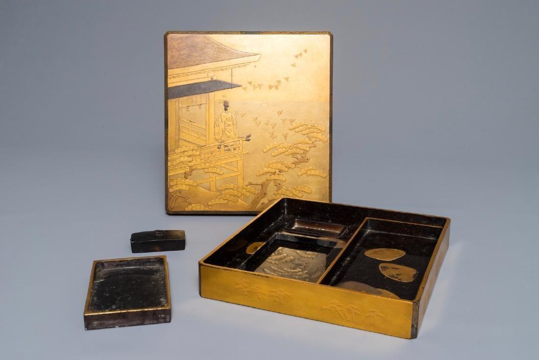 A Japanese gilt-lacquered writing set 'Suzuribako',