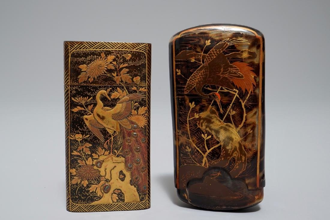 Two Japanese gilt-lacquered tortoise shell and horn