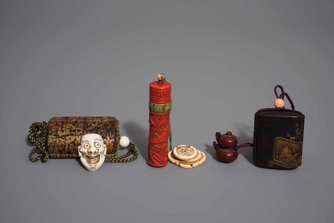 Three Japanese maki-e and red lacquer inro with ojime