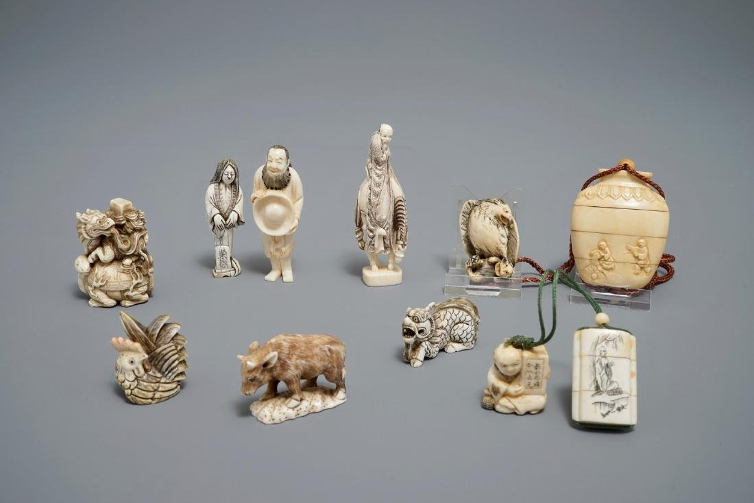 A collection of Japanese carved   netsuke and inro,
