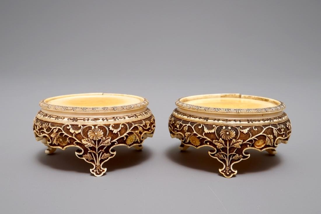 A pair of Japanese carved   stands, Meiji, 19th C.