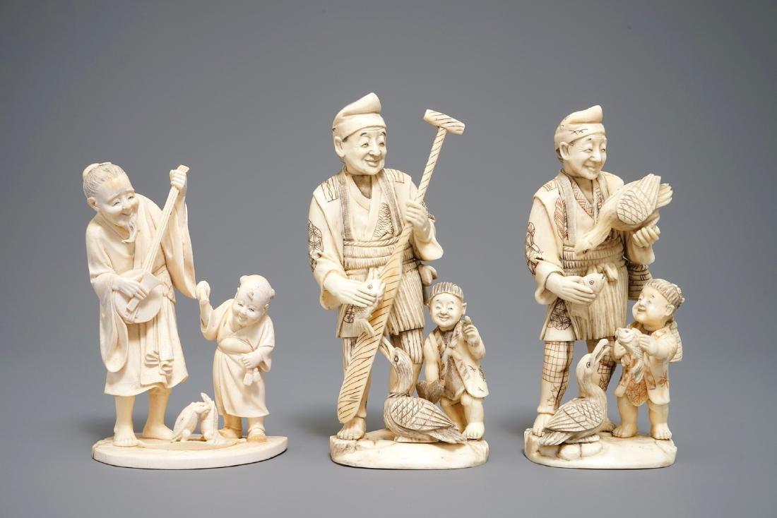 Three Japanese carved   okimono, Meiji, 19th C.