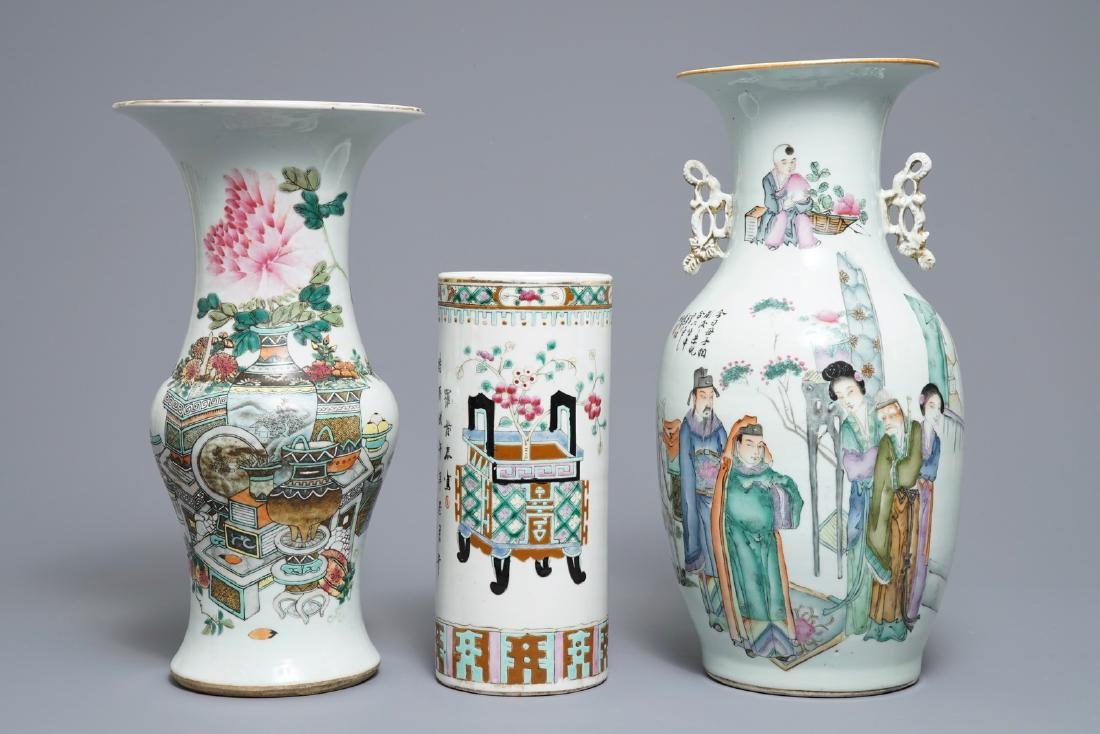 Three various Chinese famille rose vases, 19/20th C.