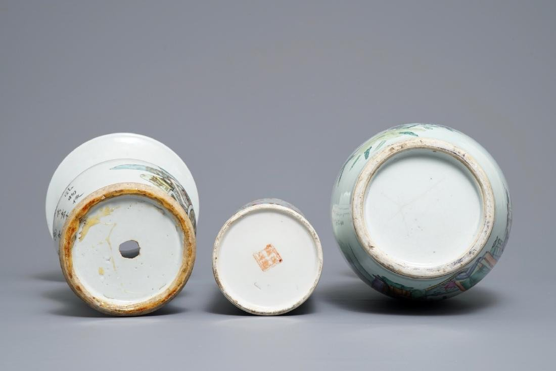 Three various Chinese famille rose vases, 19/20th C. - 6