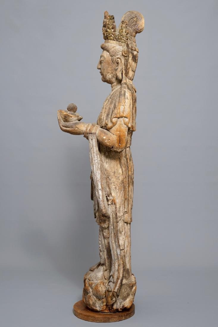 A tall Chinese carved wood figure of Guanyin, Ming - 5