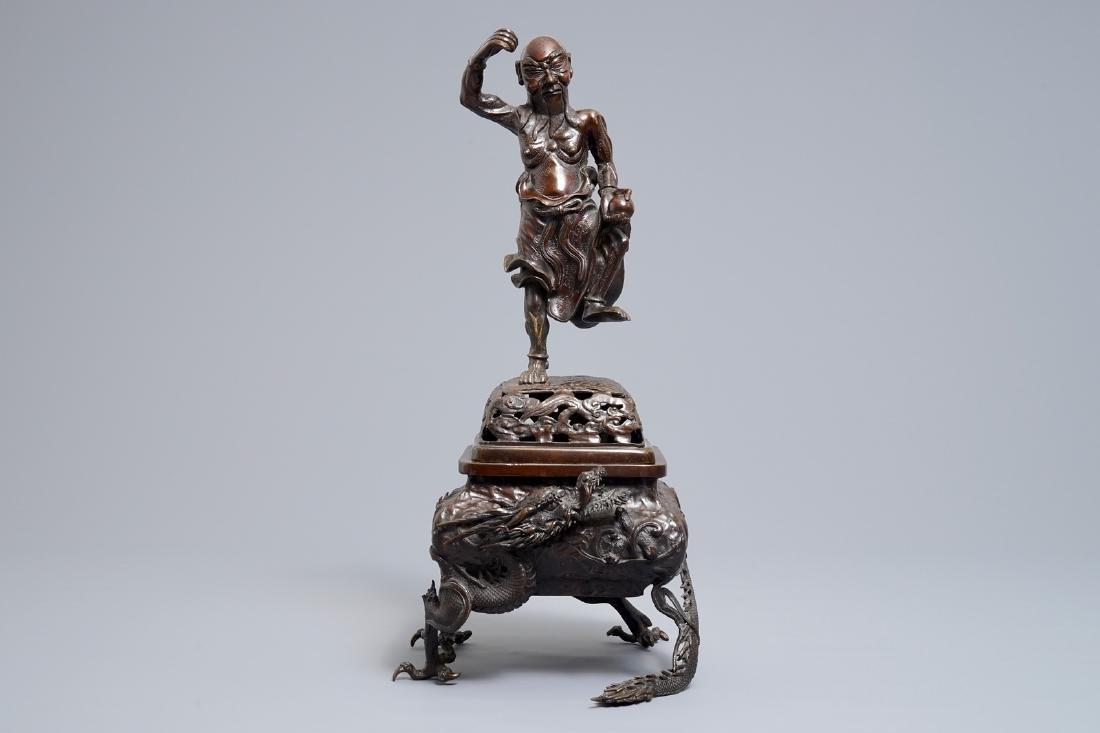 A Japanese bronze koro on dragon claw feet, Edo or - 2