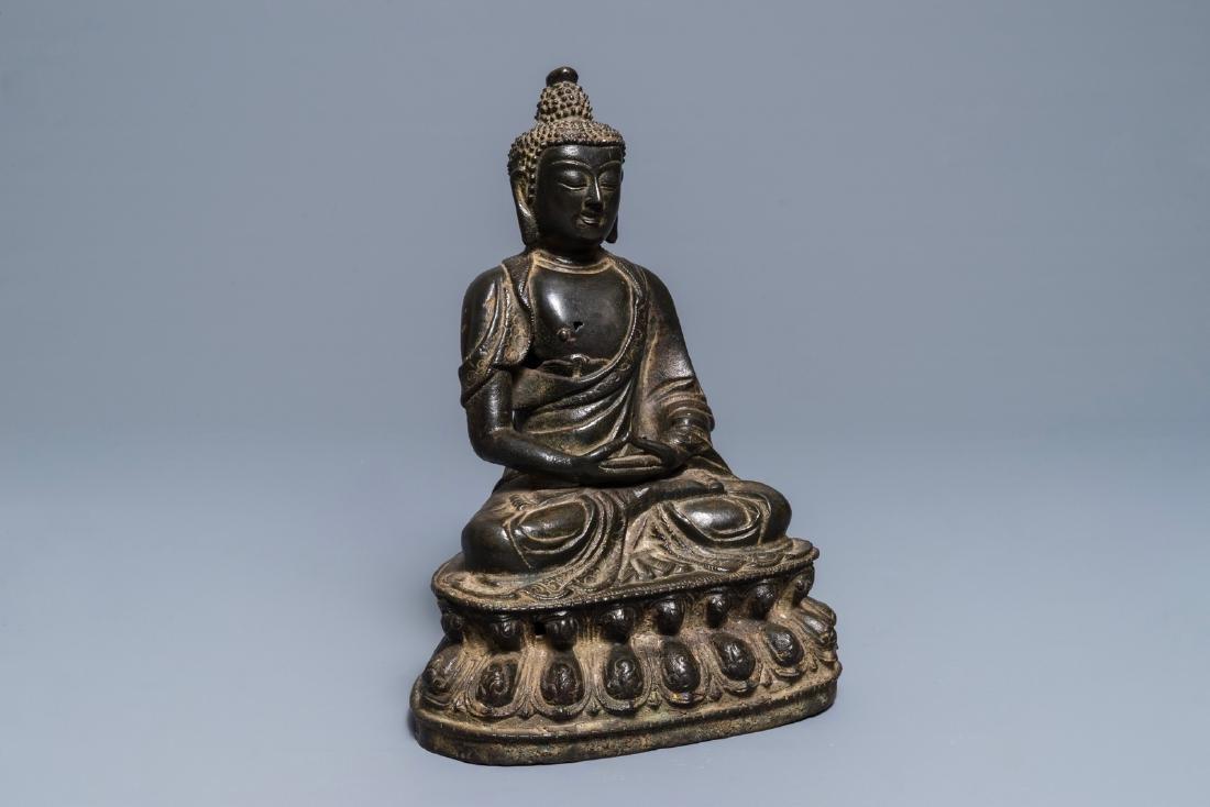 A Sino-Tibetan bronze figure of Buddha Shakyamuni, Ming