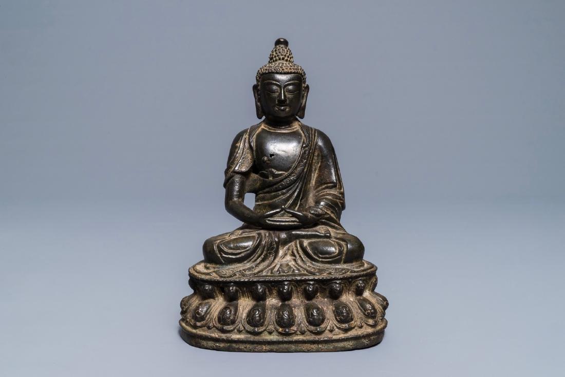 A Sino-Tibetan bronze figure of Buddha Shakyamuni, Ming - 2