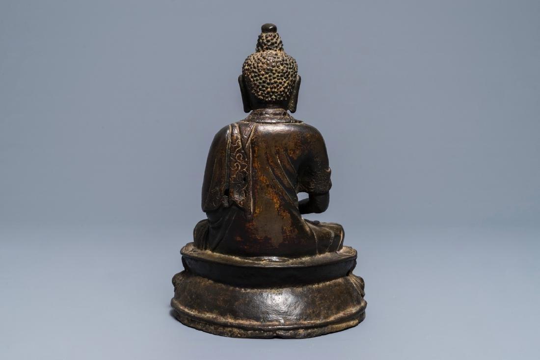 A Sino-Tibetan bronze figure of Buddha Shakyamuni, Ming - 5