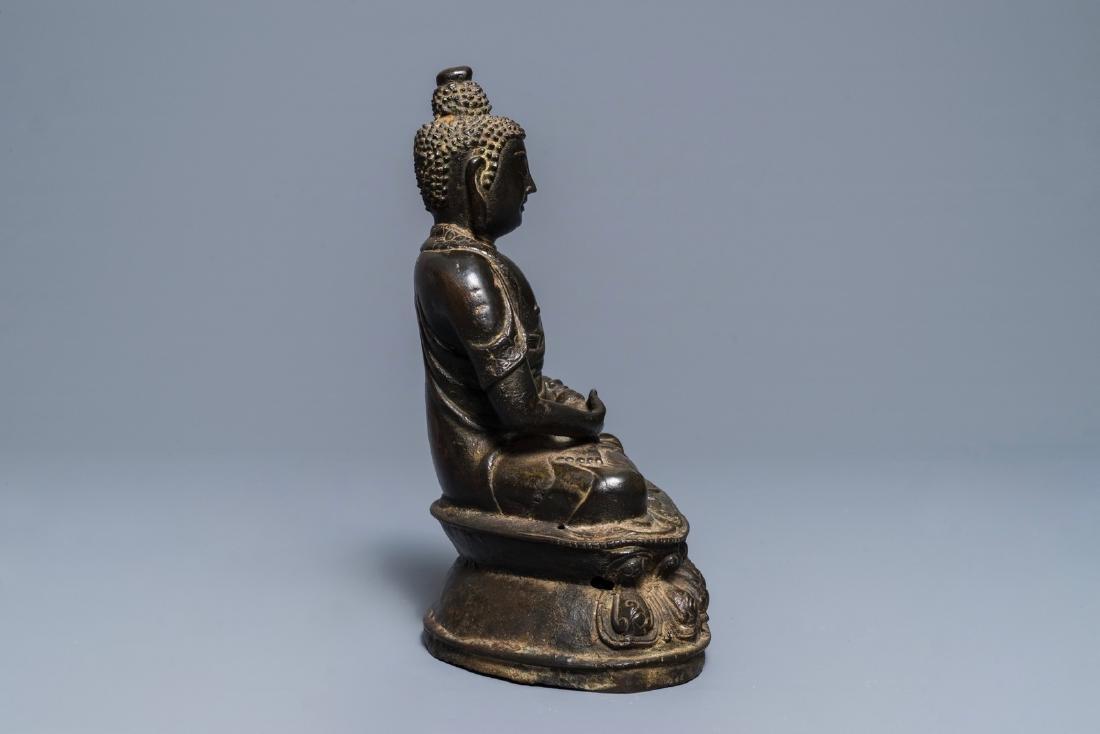 A Sino-Tibetan bronze figure of Buddha Shakyamuni, Ming - 6
