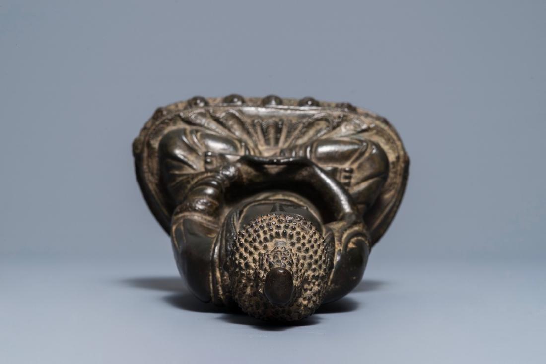 A Sino-Tibetan bronze figure of Buddha Shakyamuni, Ming - 8