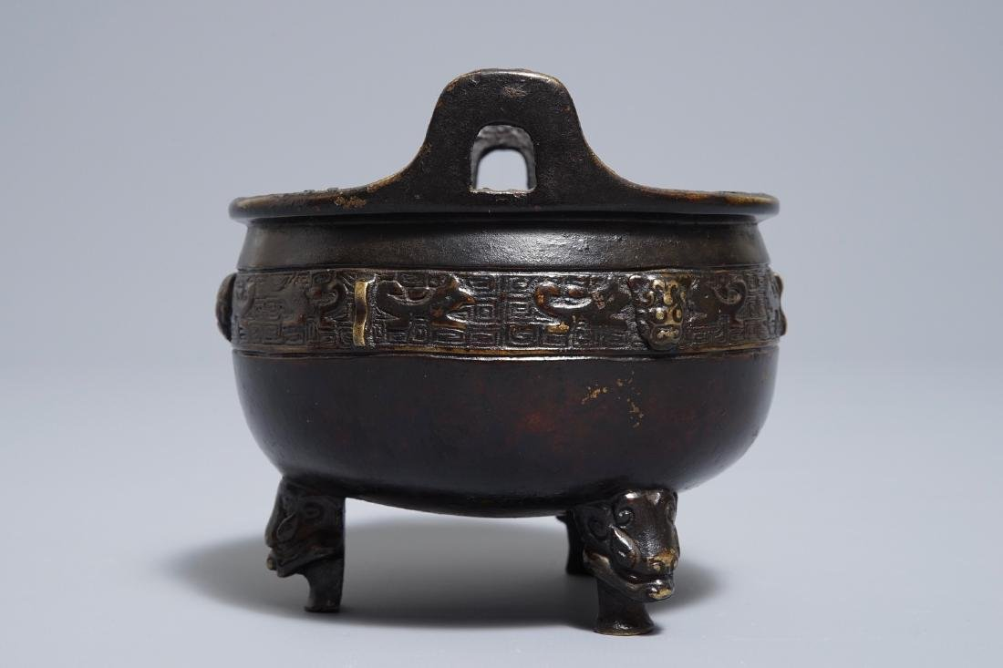 A Chinese bronze tripod incense burner, Xuande mark, - 2