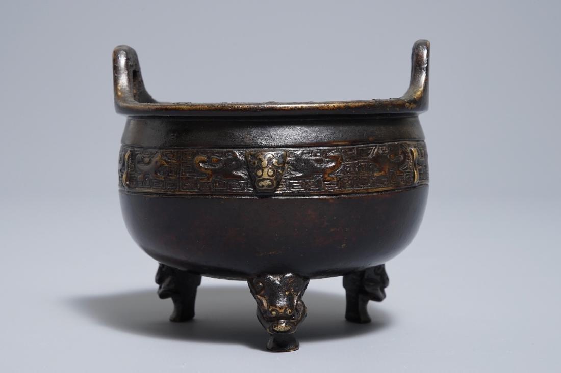 A Chinese bronze tripod incense burner, Xuande mark, - 4