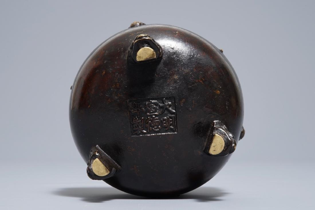 A Chinese bronze tripod incense burner, Xuande mark, - 6