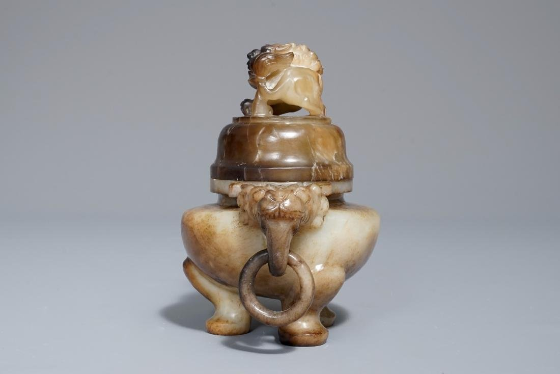 A Chinese mottled jade tripod incense burner and cover, - 2