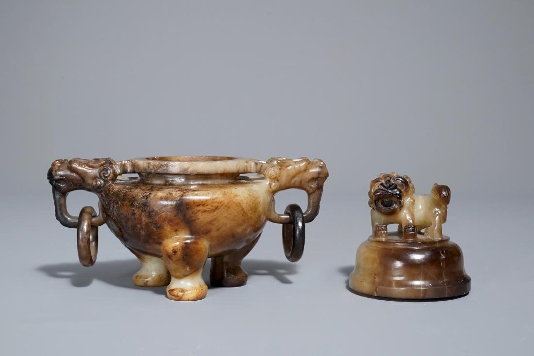 A Chinese mottled jade tripod incense burner and cover, - 5