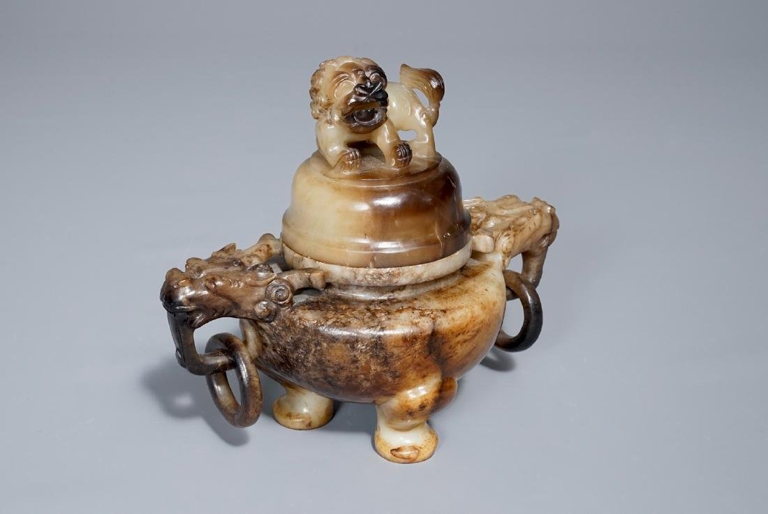 A Chinese mottled jade tripod incense burner and cover, - 8