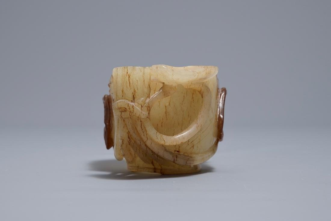 A Chinese lotus-shaped russet jade libation cup, - 4