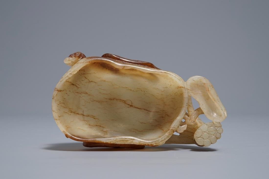 A Chinese lotus-shaped russet jade libation cup, - 5