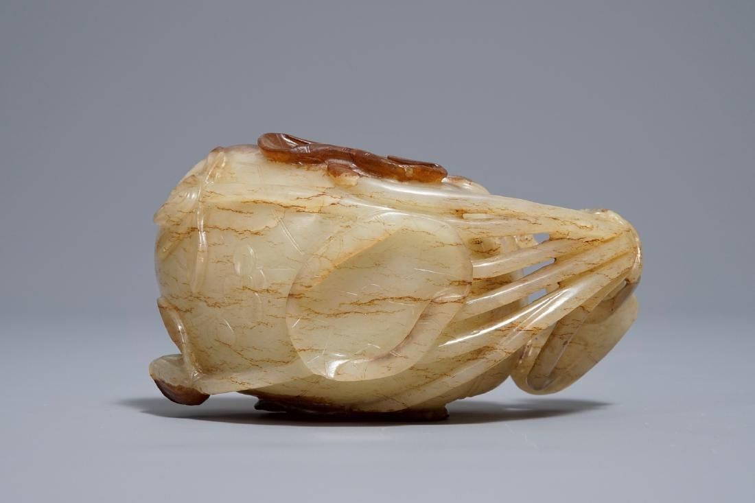 A Chinese lotus-shaped russet jade libation cup, - 6
